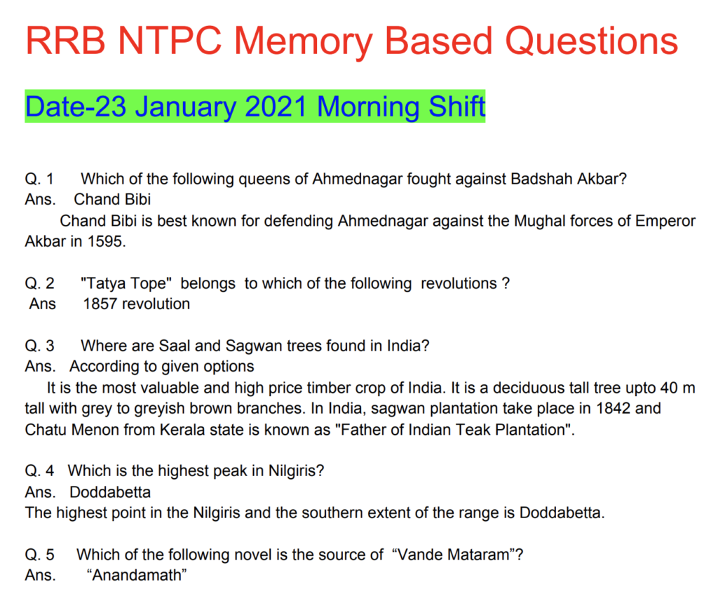 RRB NTPC 23 January 2021 Questions