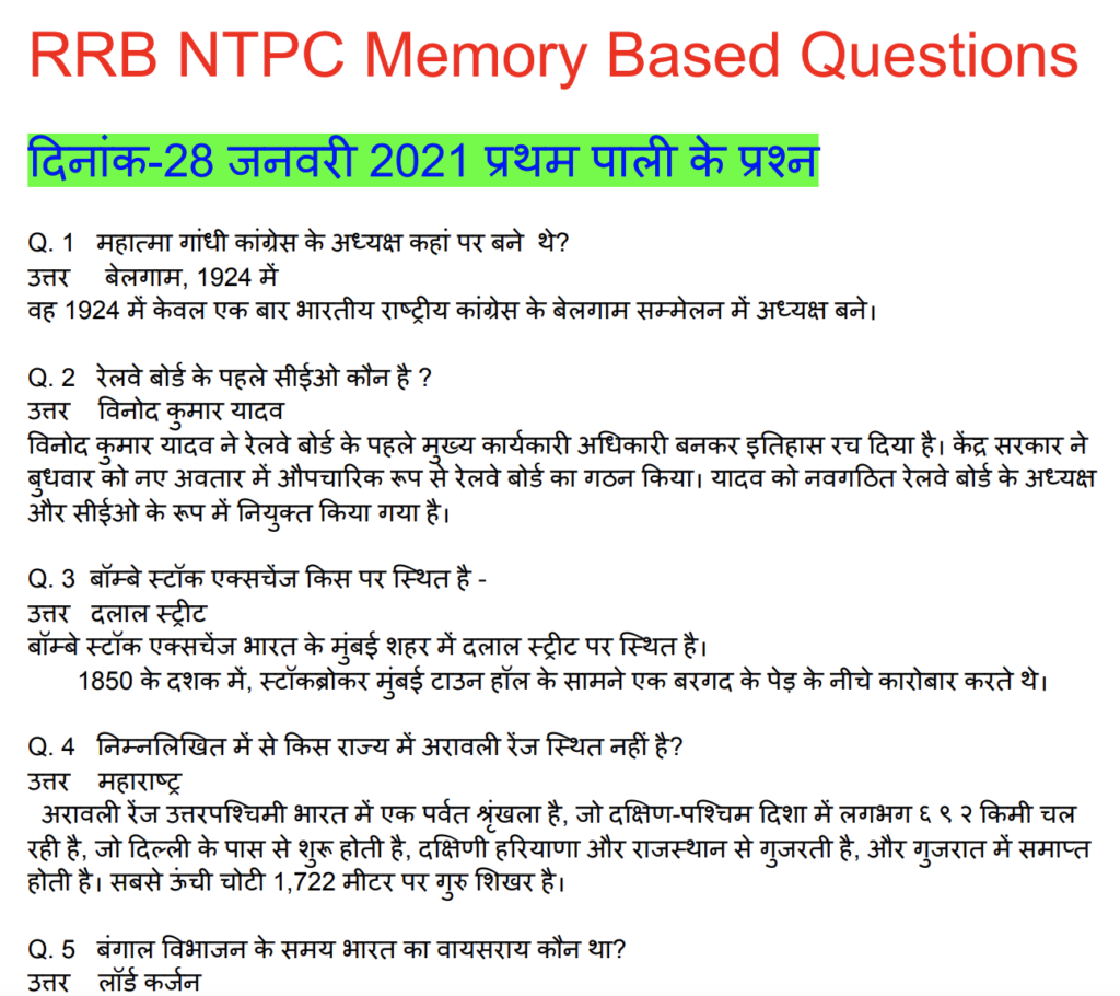 RRB NTPC 28 January 2021 Questions