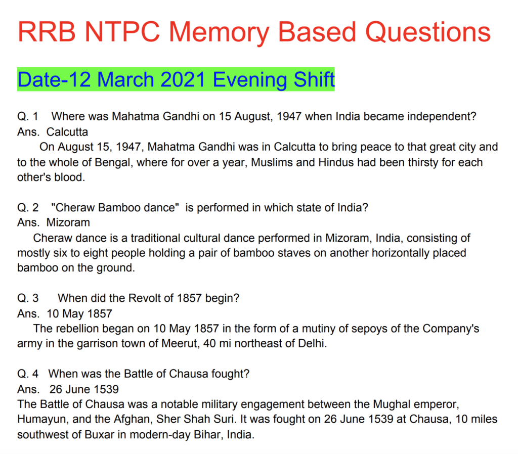 RRB NTPC 12 March 2021 Questions