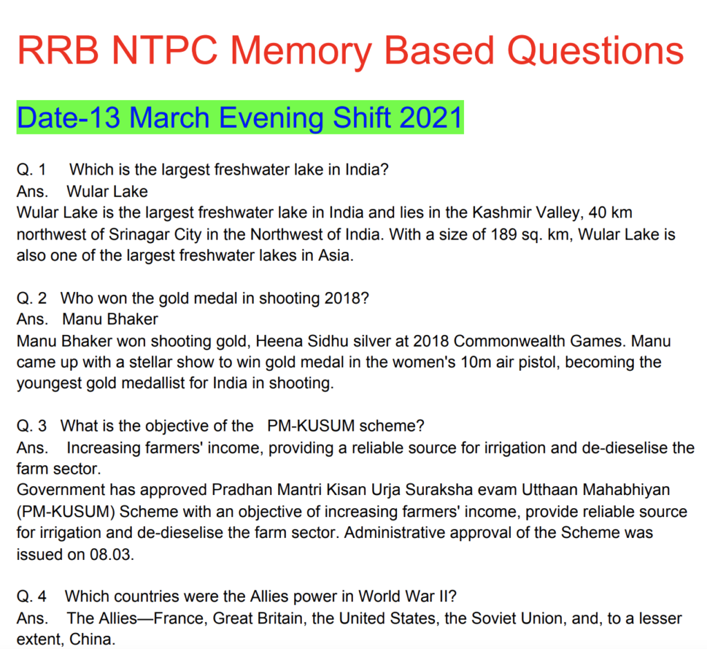 RRB NTPC 13 March 2021 Questions