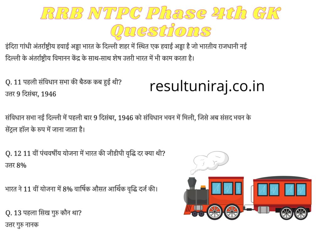 RRB NTPC 4th Phase Questions in Hindi