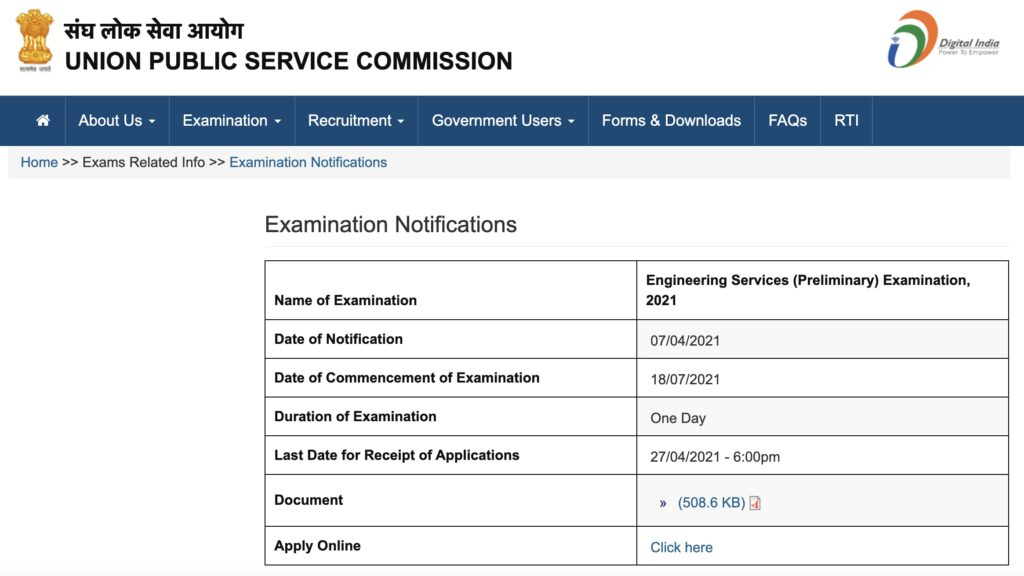 UPSC ISS: IES Exam form 2021